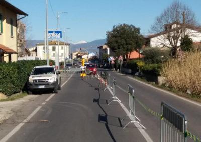Cantiere mobile con transenne a Quarrata, Pistoia