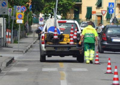 Posizionamento coni stradali Quarrata Pistoia Firenze